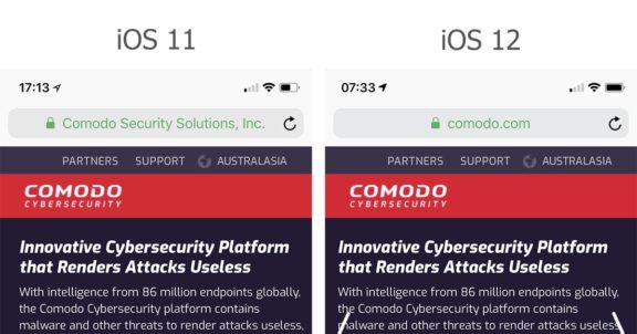 Anzeige eines EV-SSL-Zertifikats in iOS 11 und 12