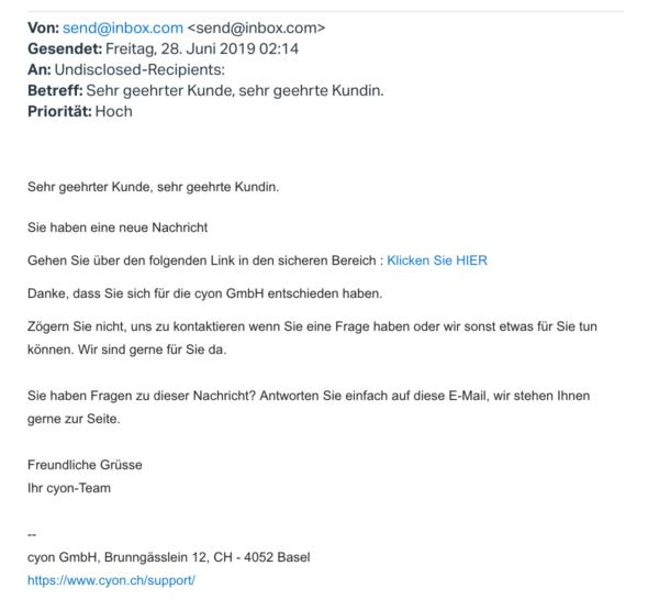 Screenshot Phishing-E-Mail