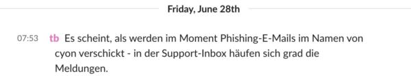 Tom meldet Phishingattacke